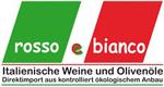 """Logo des Wein-, Olivenöl und Spezialitätenimporteurs rosso e bianco: die Farben der italienischen Flagge, darauf der Schriftzug """"rosso e bianco""""."""
